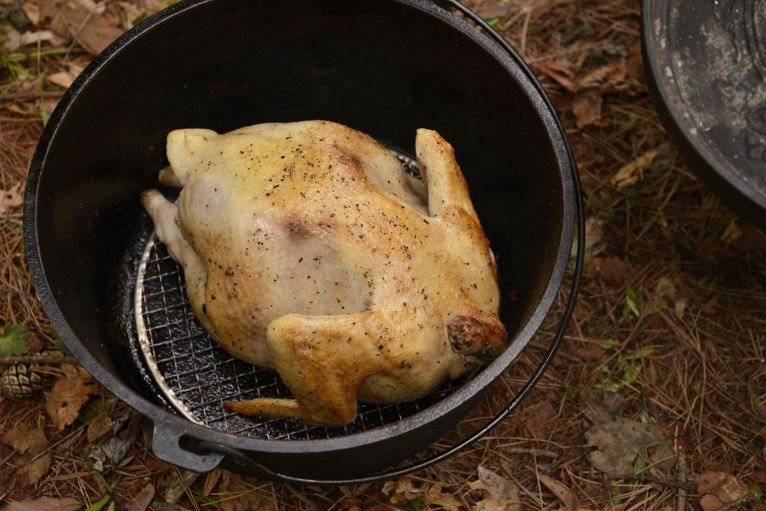 丸鶏を焼く